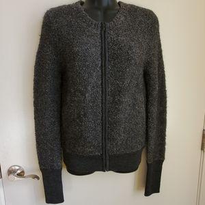 J Crew Bomber Style Wool, Blend Zip Sweater